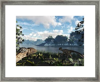 Sauroposeidon Graze While Feathered Framed Print by Walter Myers
