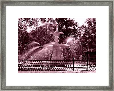 Savannah Fountain In Pink Framed Print by Carol Groenen