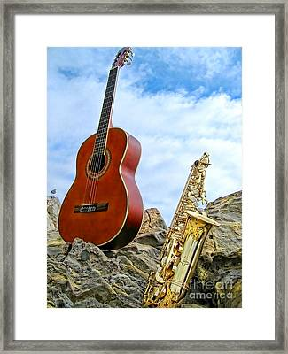 Sax And Guitar Framed Print by Jason Abando
