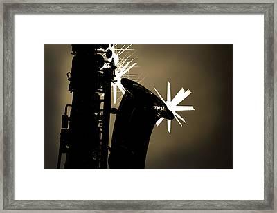 Sax Black And White Framed Print by M K  Miller