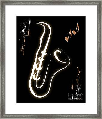Sax Music Poster Framed Print by Linda Seacord