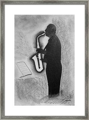 Sax Player Silhouette Framed Print by Miguel Rodriguez