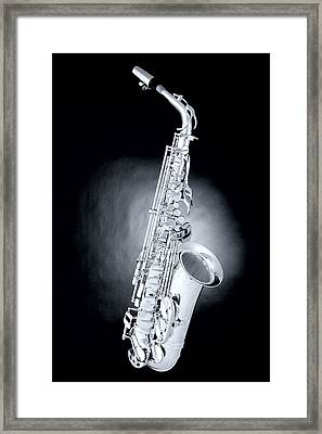 Saxophone On Spotlight Framed Print