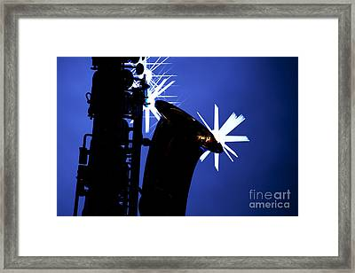 Saxophone Silhouette On Blue Framed Print by M K  Miller