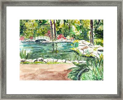 Framed Print featuring the painting Sayen Pond by Clara Sue Beym