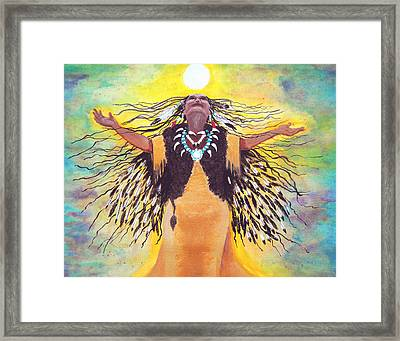 Saying Good Morning To The Sun Framed Print by Vallee Johnson