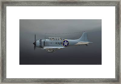Framed Print featuring the digital art Sbd Dive Bomber by Walter Colvin