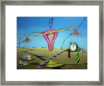 Scales Of Justice For Women Framed Print by Sandra Scheetz-Wise