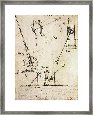 Scaling Ladder By Leonardo Da Vinci Framed Print by