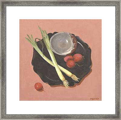 Scallions And Radishes Framed Print by Meredith Dytch
