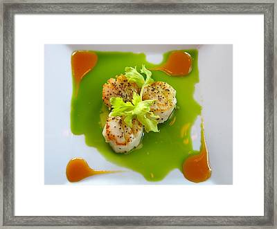 Scallops In Green Sauce Framed Print