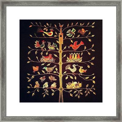 Scandinavian Tree Of Birds Framed Print