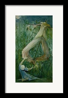 Scarecrow Farm Girl Corn Moon Framed Prints