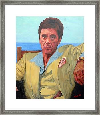 Scarface - Tony Montana Framed Print by Tom Roderick