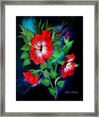 Framed Print featuring the painting Scarlet Hibiscus by Fram Cama