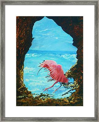Framed Print featuring the painting Scarlet Ibis Landing by Joy Braverman