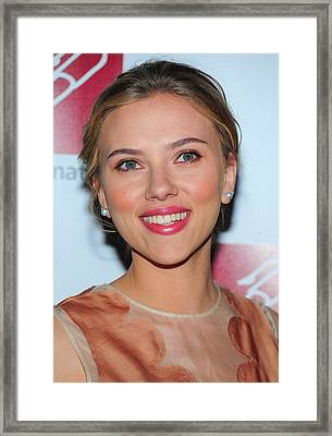 Scarlett Johansson At Arrivals For New Framed Print by Everett