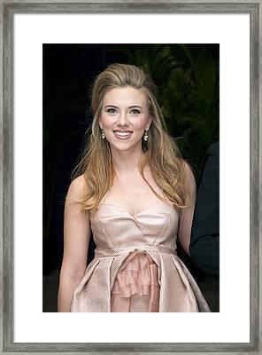 Scarlett Johansson Wearing A Miu Miu Framed Print
