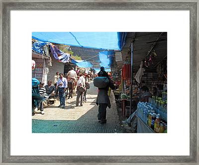 Scene At The Climbing Path Leading To The Vaishno Devi Shrine In Jammu And Kashmir State In India Framed Print by Ashish Agarwal
