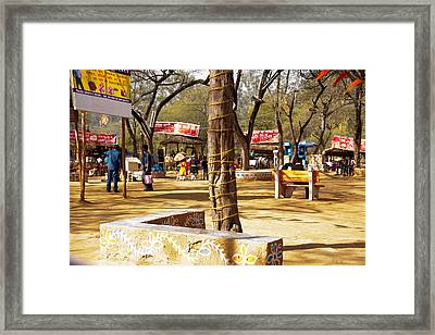 Scene At The Food Court In The Surajkund Mela Framed Print