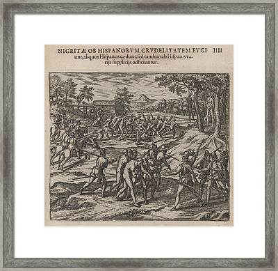 Scene Of Early Slavery In The Americas Framed Print by Everett