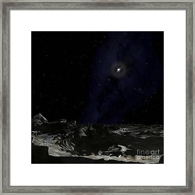 Scene On A Planet Orbiting The Pulsar Framed Print