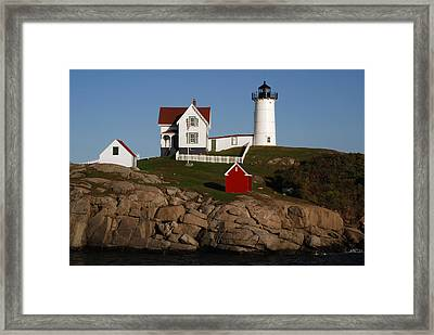 Scenic View Of Nubble Light Framed Print by Darlyne A. Murawski