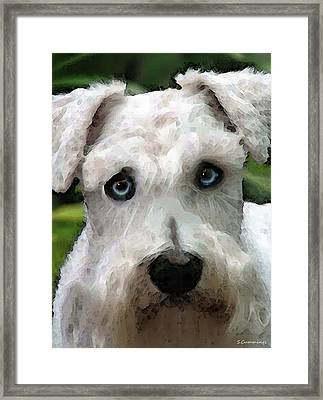 Schnauzer Art - Smokey Framed Print by Sharon Cummings