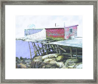 Schoodic Pier Framed Print by Richard Stevens
