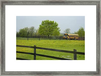 School Bus In A Field In Rural Ontario Framed Print by Marlene Ford