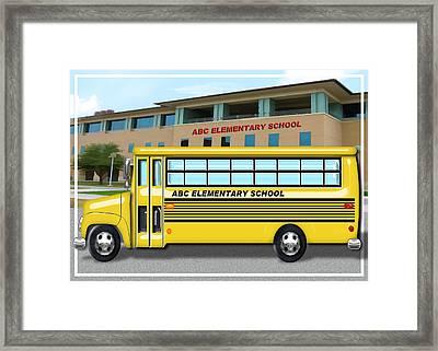 School Bus In Front Of School  Framed Print by Elaine Plesser