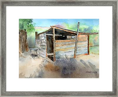 Framed Print featuring the painting School Cooking Shack - South Africa by Arline Wagner