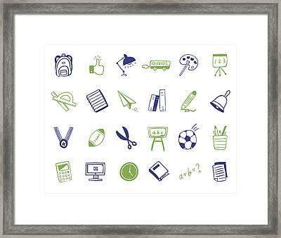 School Icon Set Framed Print by Eastnine Inc.