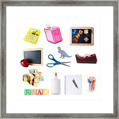 School Objects Framed Print by HD Connelly