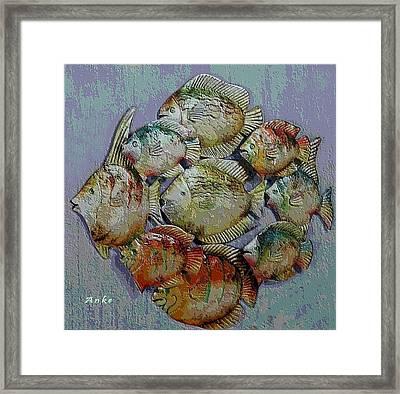 School Of Fish Framed Print by Anke Wheeler