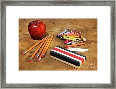 School Supplies  Framed Print by Sandra Cunningham