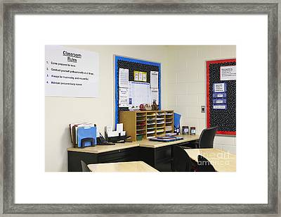School Teachers Desk Framed Print by Skip Nall
