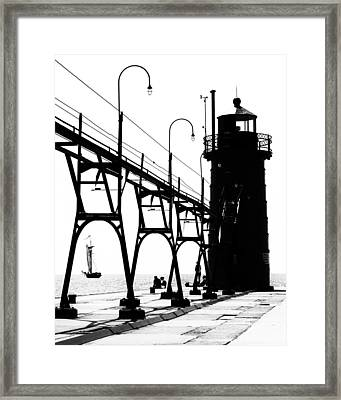 Schooner And Lighthouse Framed Print by Coby Cooper