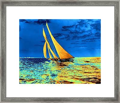 Schooner Ariel's Golden Sails 1899 Framed Print by Padre Art