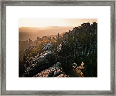 Schrammsteine Framed Print by Andreas Wonisch