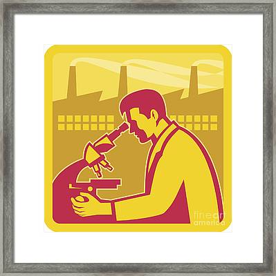Scientist Researcher Factory Building Retro Framed Print by Aloysius Patrimonio