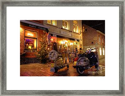 Scooters At The Bistro Framed Print by Rob Hawkins