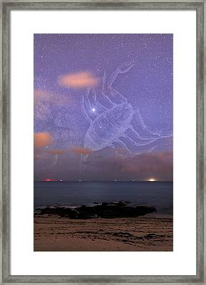 Scorpio In A Night Sky Framed Print by Laurent Laveder