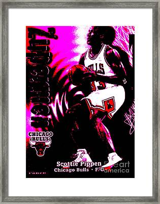 Scottie Pippen Framed Print by Marsha Heiken