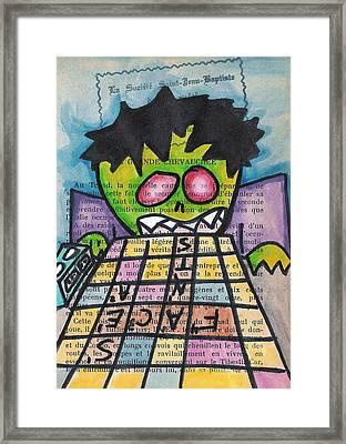 Scrabble Zombie Framed Print by Jera Sky