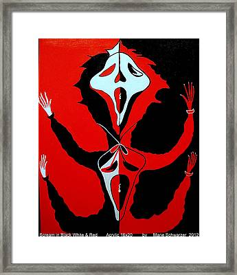 Framed Print featuring the painting Scream In Black White And Red by Marie Schwarzer