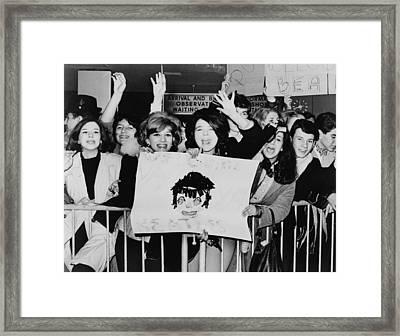 Screaming Teenagers Girls Wave A Crude Framed Print by Everett