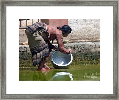 Framed Print featuring the photograph Scrub Day- Nepal by Louise Peardon