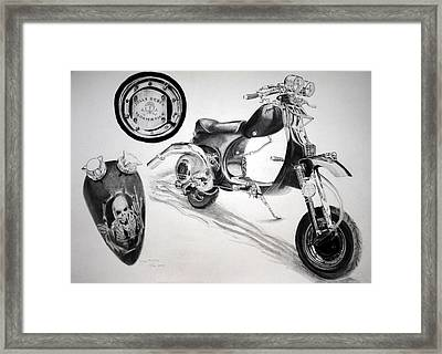 Framed Print featuring the drawing Scull Scooter by Lynn Hughes