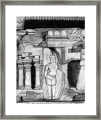 Sculpture At Hampi Framed Print by Shashi Kumar